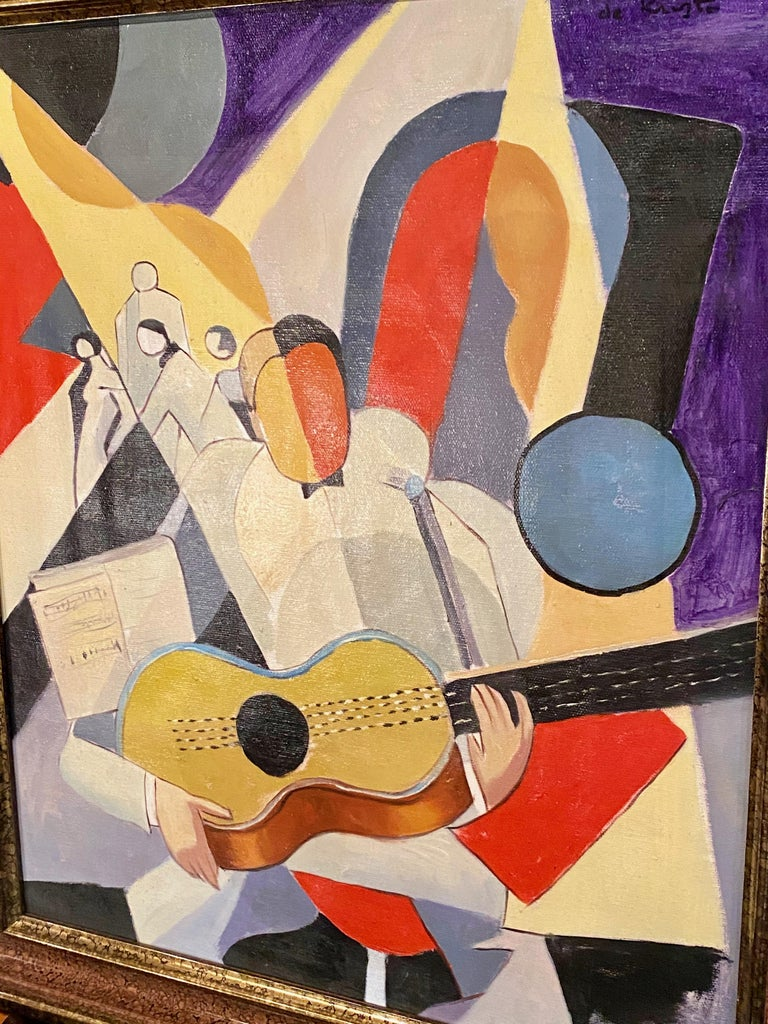 Mid-20th Century Bela De Kristo Art Deco Cubist Oil on Canvas Man Playing Guitar For Sale