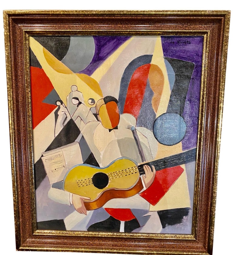 Bela De Kristo Art Deco Cubist Oil on Canvas Man Playing Guitar For Sale 2