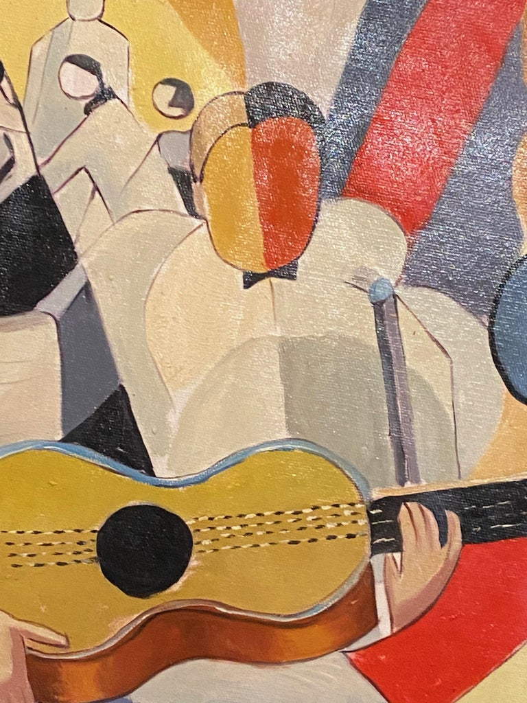 Bela De Kristo Art Deco Cubist Oil on Canvas Man Playing Guitar For Sale 3
