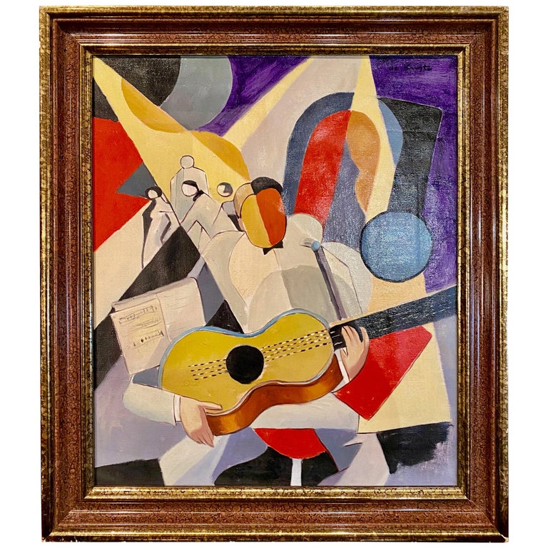 Bela De Kristo Art Deco Cubist Oil on Canvas Man Playing Guitar For Sale