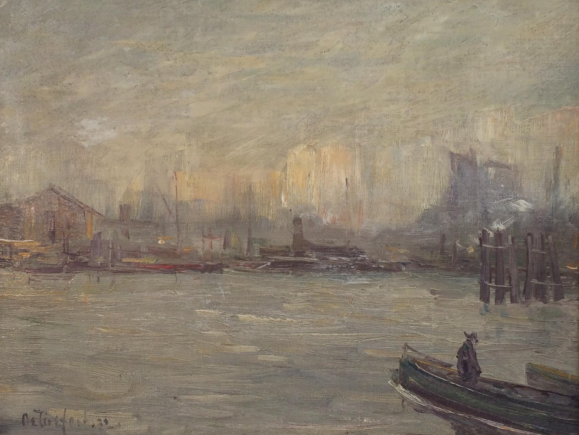 """""""New York City Harbor,"""" Modernist View of Port and Boats on a Cloudy Day"""