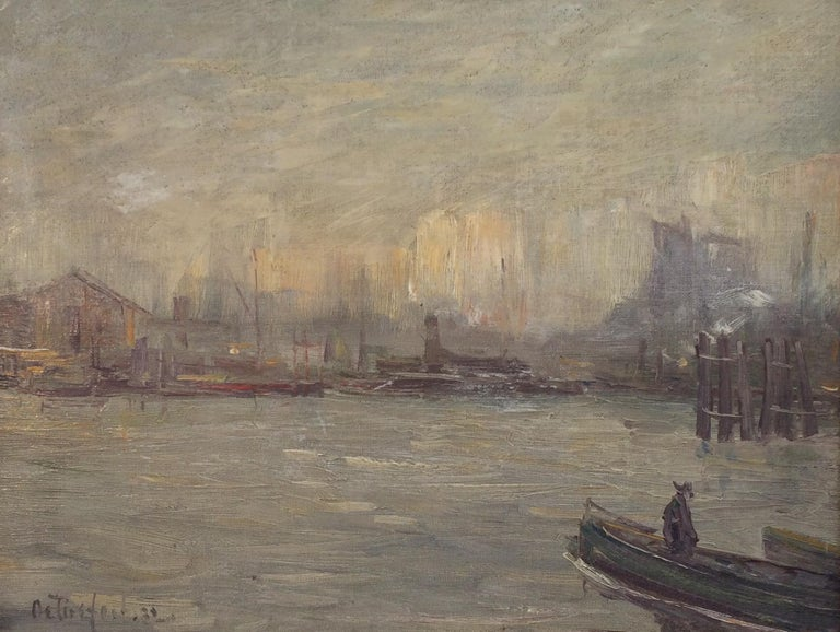 "Bela de Tirefort Landscape Painting - ""New York City Harbor,"" Modernist View of Port and Boats on a Cloudy Day"