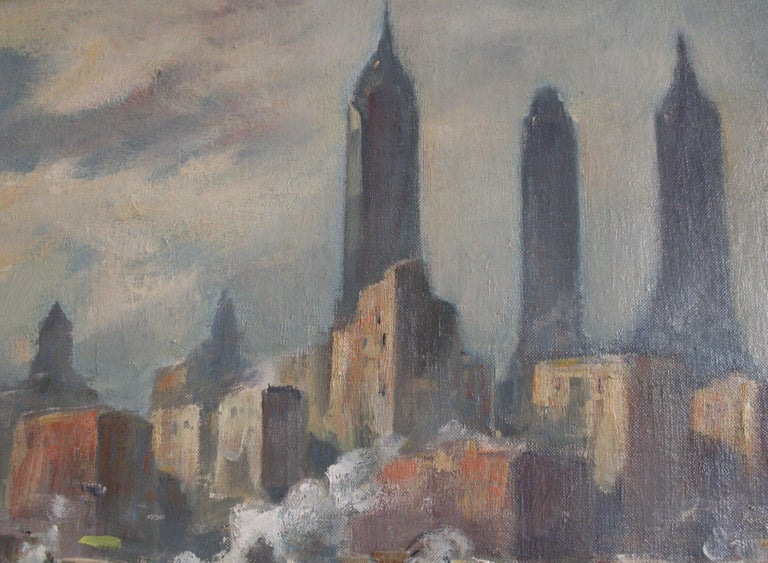Bela de Tirefort (1894 – 1993) New York Harbor from the East River, 1951 Oil on canvasboard 16 x 20 inches Signed and dated lower left: De Tirefort 51 Housed in a Heydenryk frame  A nearly identical scene sold at auction on April 6, 2019 for