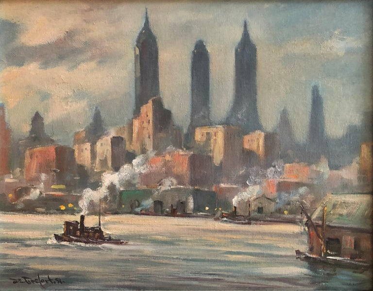 """Bela de Tirefort Landscape Painting - """"New York Harbor from the East River, 1951,"""" American Cityscape of NYC Skyline"""