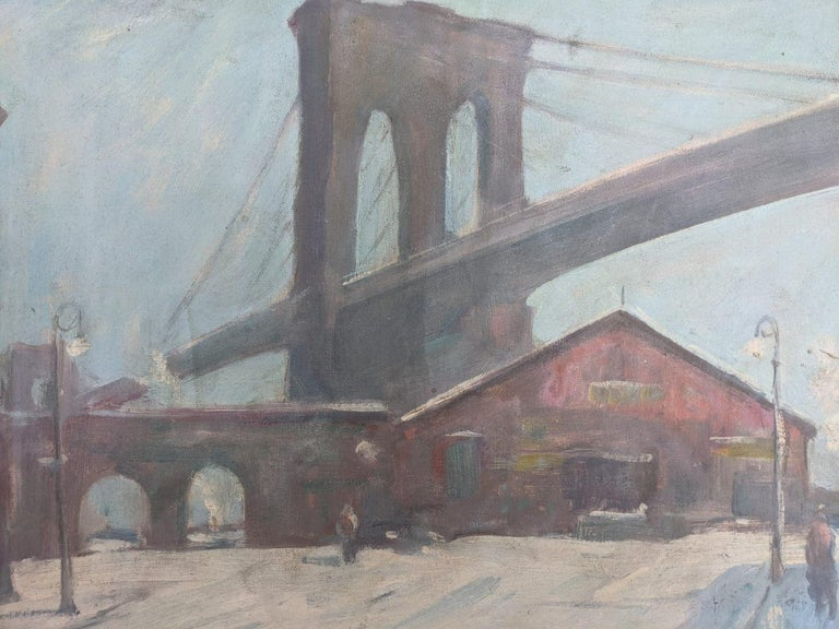 Bela de Tirefort (1894 – 1993) Sunday Morning Under the Brooklyn Bridge, 1950 Oil on canvasboard 16 x 20 inches Signed and dated lower left; signed and titled on the reverse on artist label  Provenance: Private Collection, Nyack, New York  Bela de