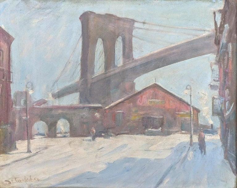 """Sunday Morning Under the Brooklyn Bridge,"" Bela de Tirefort, New York Street - Painting by Bela de Tirefort"