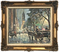 """""""Walk by Central Park"""" View of the Empire State Building Impressionist Painting"""
