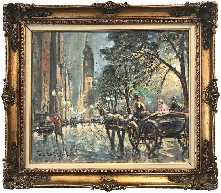 """Bela de Tirefort Landscape Painting - """"Walk by Central Park"""" View of the Empire State Building Impressionist Painting"""