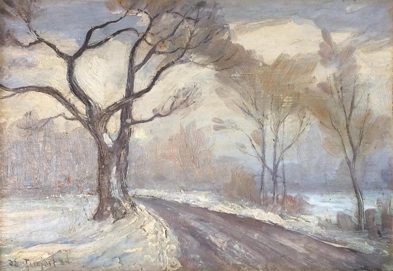 "Bela de Tirefort Landscape Painting - ""Winter Landscape, Central Park, New York City,"" Snowy December Christmas"