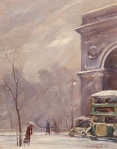 """Winter, Washington Square,"" Bela de Tirefort, New York impressionist, ca. 1940s"
