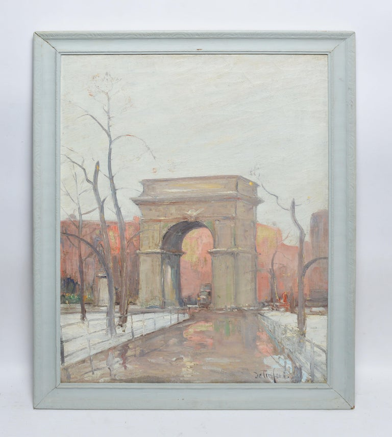 Winter in Washington Square Park, New York Cityscape Painting by Bela DeTirefort 1