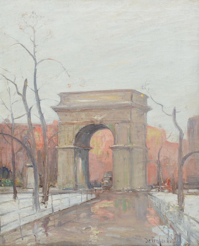 Winter in Washington Square Park, New York Cityscape Painting by Bela DeTirefort 2