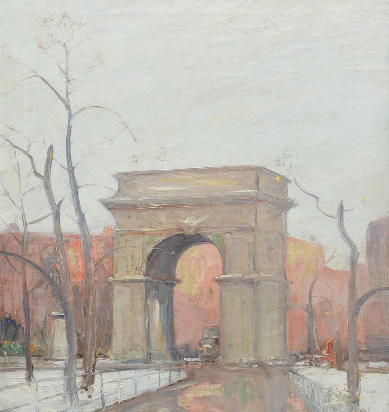 Winter in Washington Square Park, New York Cityscape Painting by Bela DeTirefort 3