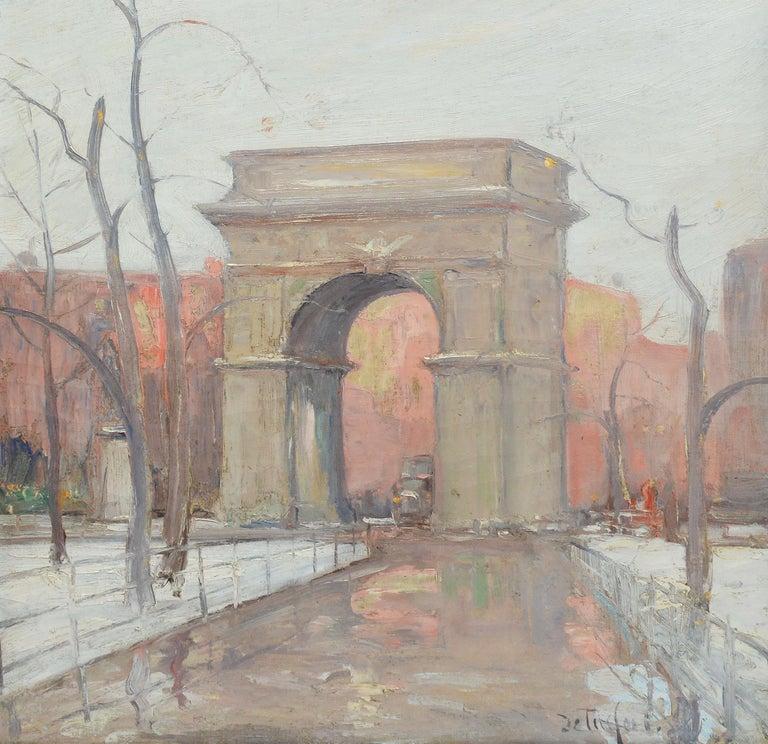 Winter in Washington Square Park, New York Cityscape Painting by Bela DeTirefort 5