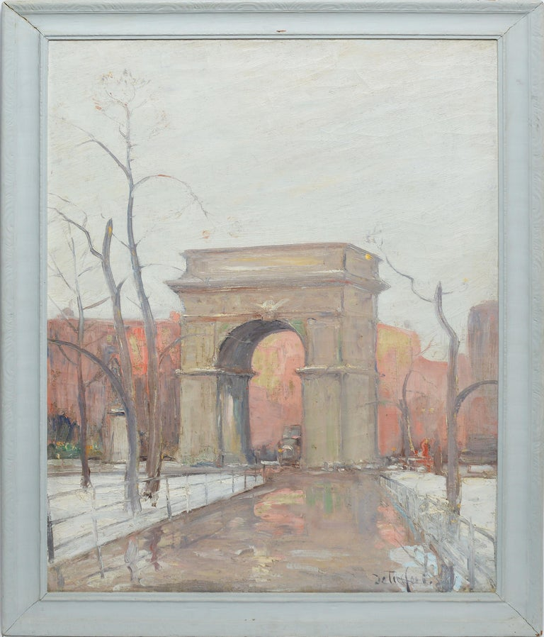 """Impressionist oil painting of Washington Square Park in New York City by Bela DeTirefort (1894-1993). Oil on canvas, circa 1925. Signed """"DeTirefort"""" lower left. Displayed in a period white impressionist frame.  Image, 20""""L x 28""""H, overall 24""""L x"""
