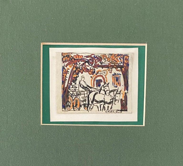 Hungarian Artist Modern Mixed Media Horse and Buggy Bela Kadar  For Sale 1