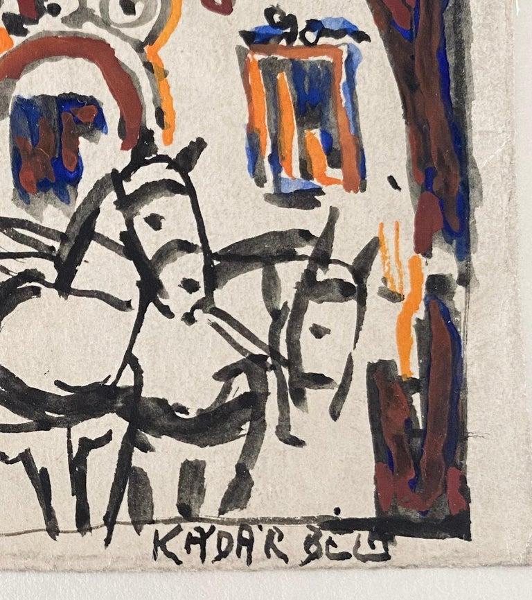 Hungarian Artist Modern Mixed Media Horse and Buggy Bela Kadar  For Sale 4