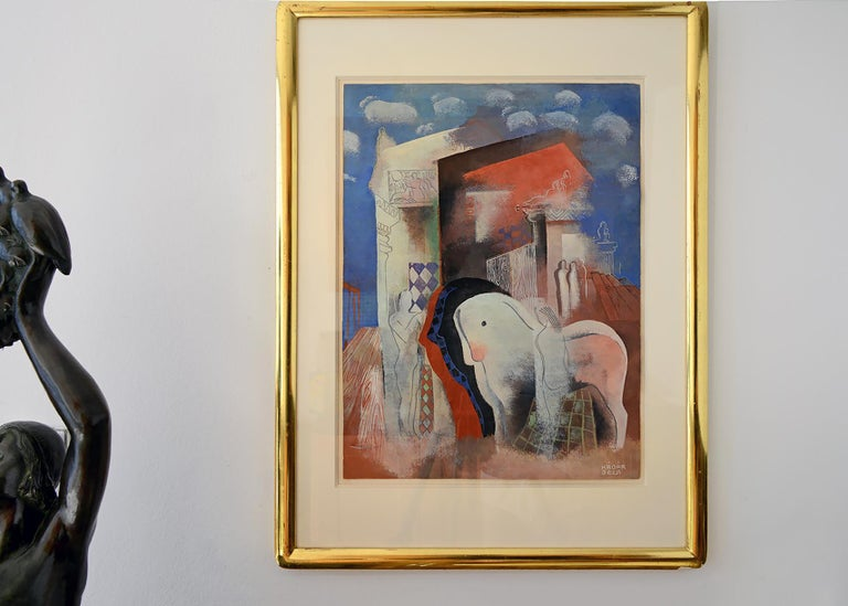 This work is an exceptional example of Kádár's mature Cubist style.  It's effortlessly designed around a complex composition of nude men and women tending to horses in a surreal landscape with   Greek columns, friezes and marshmello clouds set