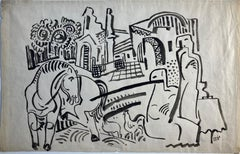 Bela Kadar Ink Drawing – Townscape with Figures, Horse, Chickens, Trees