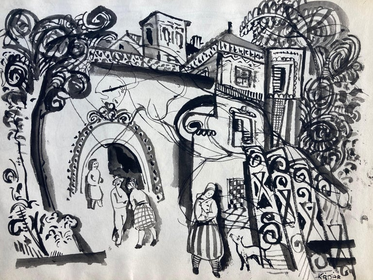 Bela Kadar, Ink.  Study of Nude (verso); Town entrance with People, Dog (recto)  - Abstract Expressionist Painting by Bela Kadar