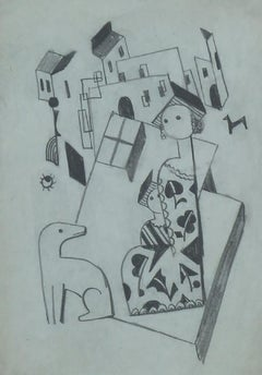 Constructivist Cityscape with Mother, Child and a Dog