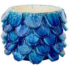 Bela Silva Sculptural Contemporary Floral Motif Blue Ceramic Vase, circa 2020