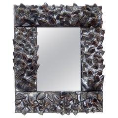 Bela Silva Sculptural Black Floral Motif Contemporary Ceramic Wall Mirror