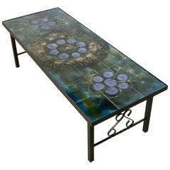 Belarti 1960s Wrought Iron Ceramic Tile Side Coffee Table