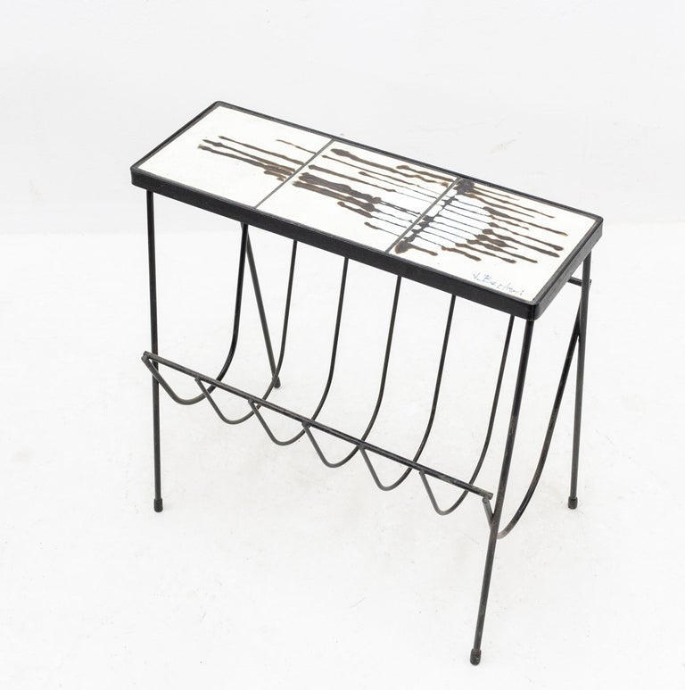 Italian Belarti Side Table Newspaper Rack For Sale