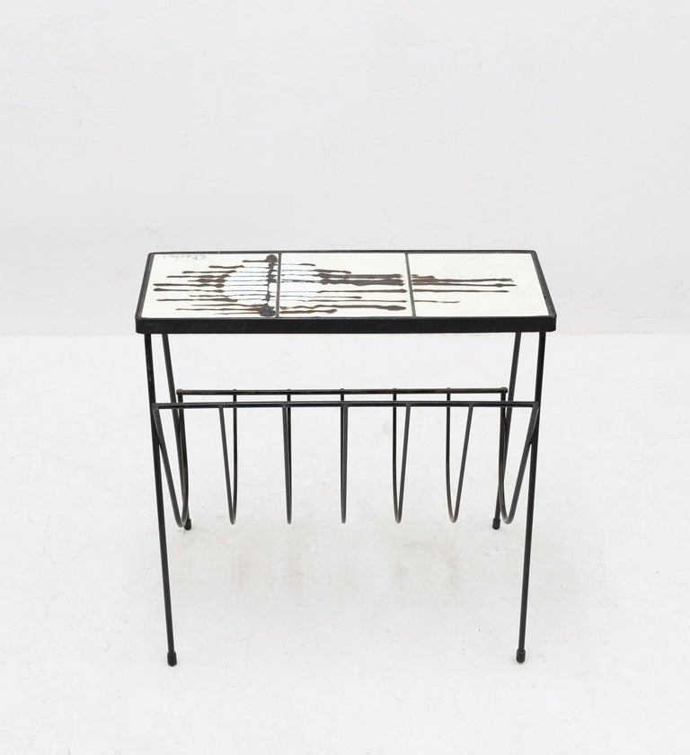 Mid-20th Century Belarti Side Table Newspaper Rack For Sale