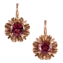 Belcher-Set Pink Tourmaline Earrings