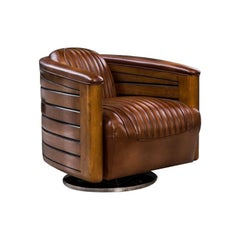 Belfast Leather Swivel Chair, 20th Century