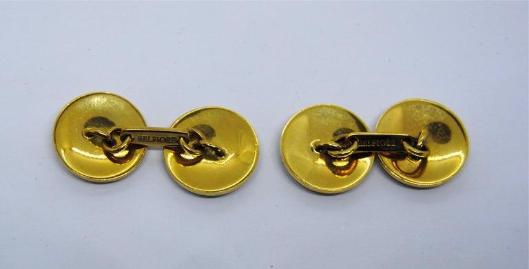 Artisan Belfiore Florentine Jewellers 18 Karat Gold and Enamel Cufflinks For Sale