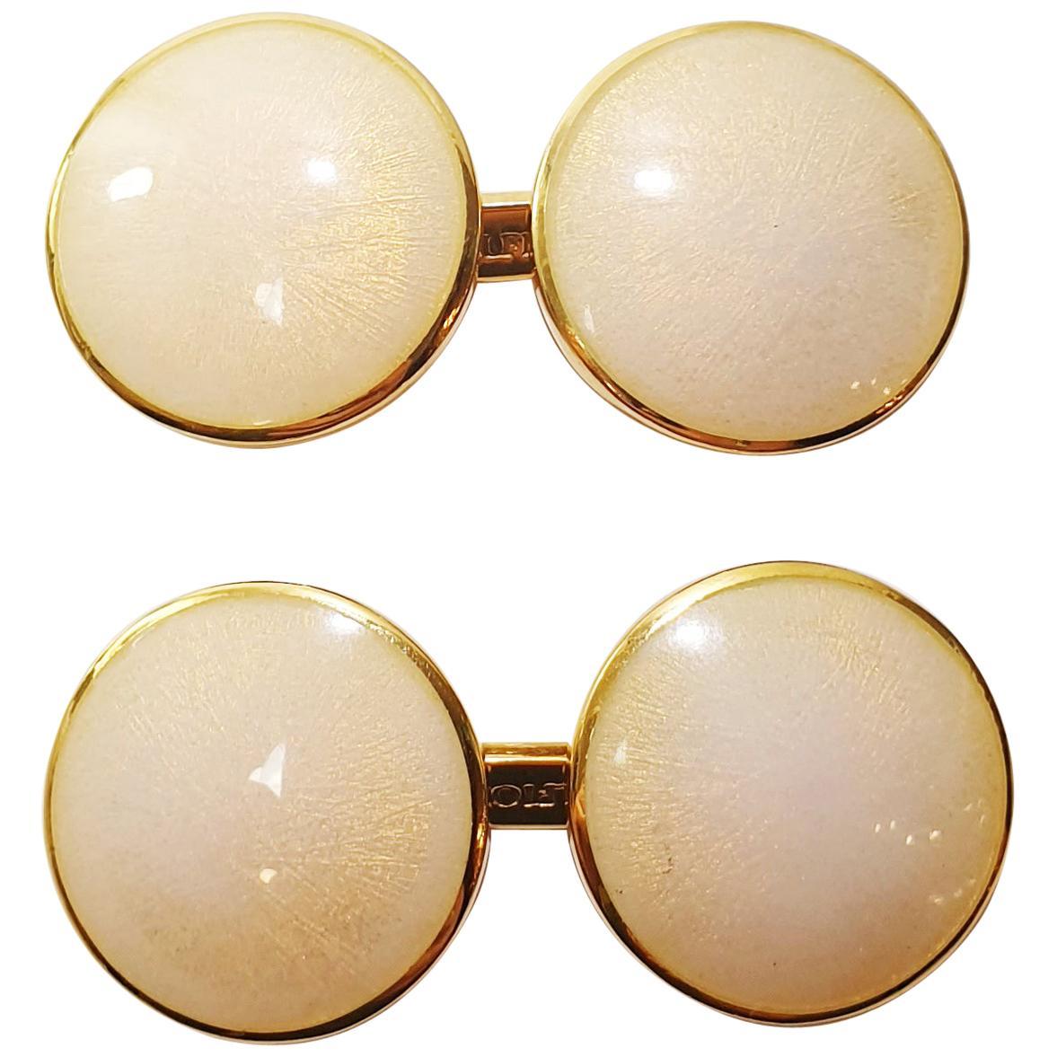 Belfiore Florentine Jewellers 18 Karat Gold and Enamel Cufflinks
