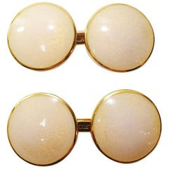 Belfiore Florentine Jewellers 18 Karat Gold and Enamel Cufflinks