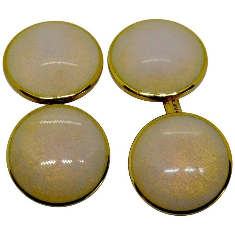Belfiore Florentine Jewellers 18 Karat Gold and Enamel Cufflinks For Sale