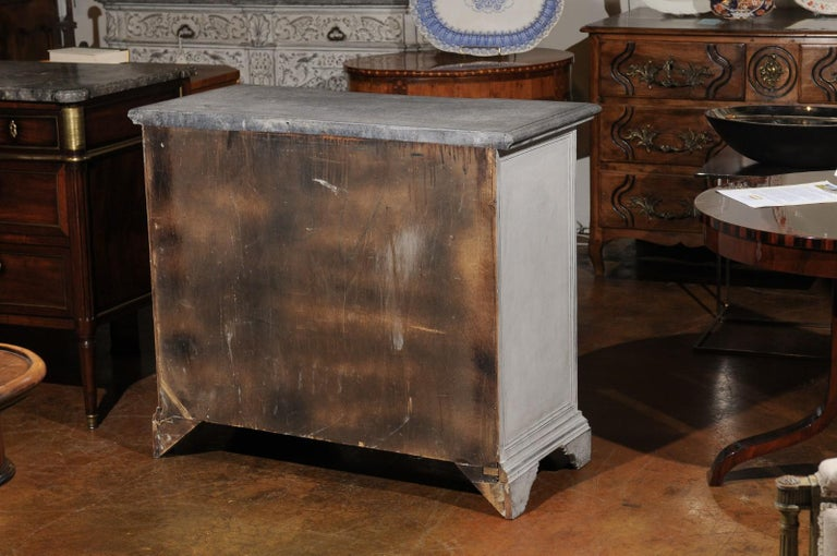 Belgian 19th Century Painted and Carved Three-Drawer Chest with Reeded Accents For Sale 5