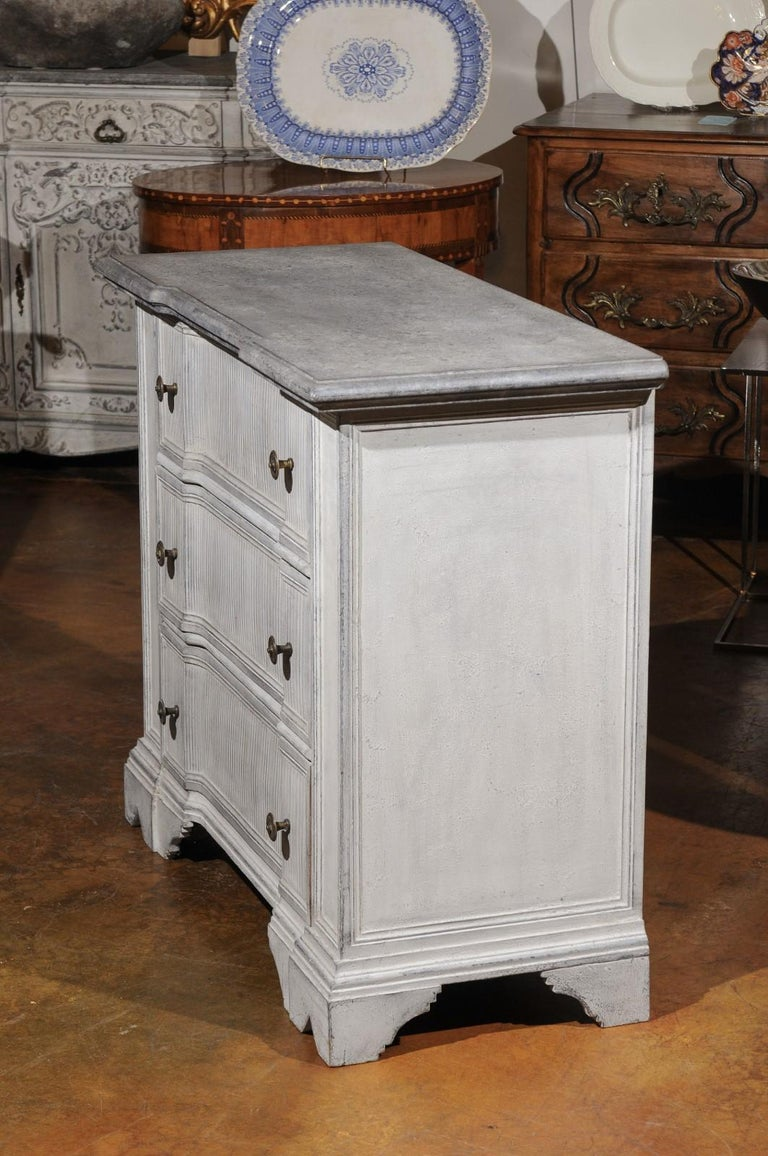 Hand-Carved Belgian 19th Century Painted and Carved Three-Drawer Chest with Reeded Accents For Sale