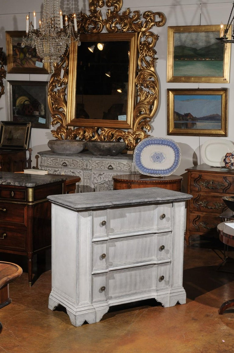 Wood Belgian 19th Century Painted and Carved Three-Drawer Chest with Reeded Accents For Sale