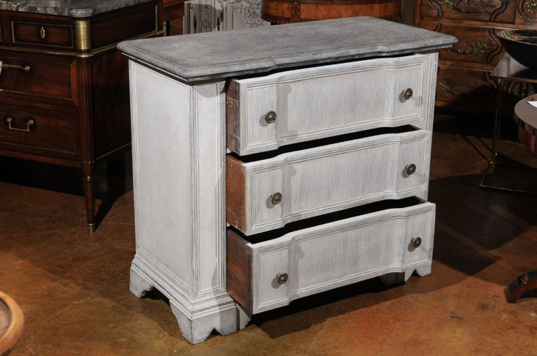 Belgian 19th Century Painted and Carved Three-Drawer Chest with Reeded Accents For Sale 1