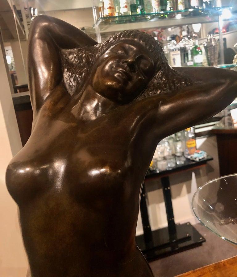 Belgian Art Deco Bronze Female Sculpture by Joseph Witterwulghe For Sale 6