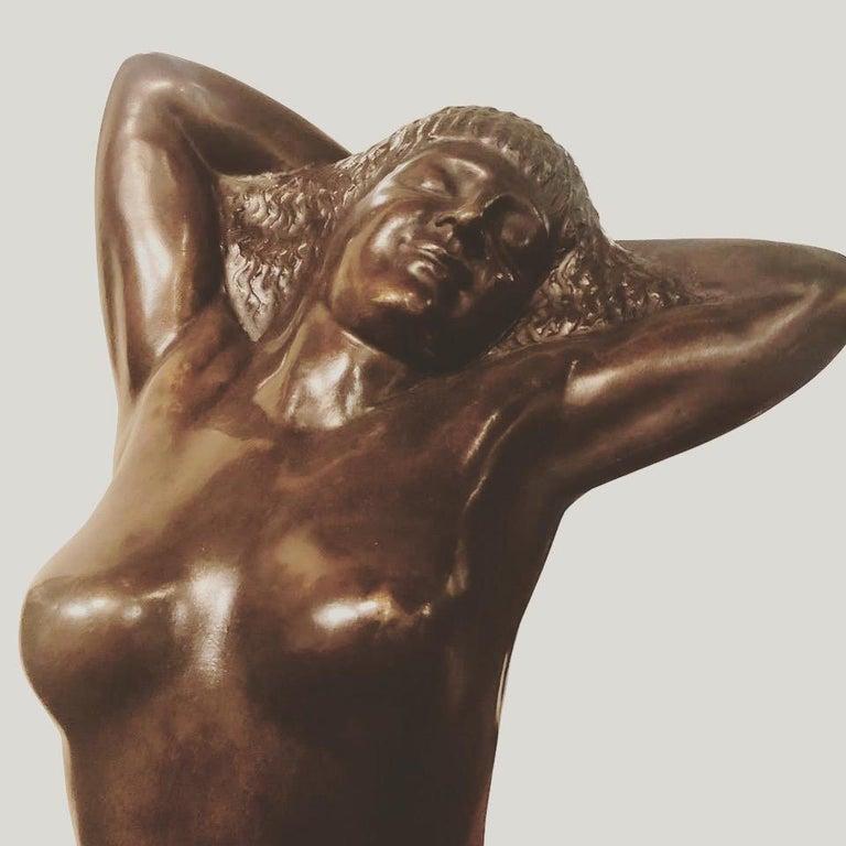 Mid-20th Century Belgian Art Deco Bronze Female Sculpture by Joseph Witterwulghe For Sale
