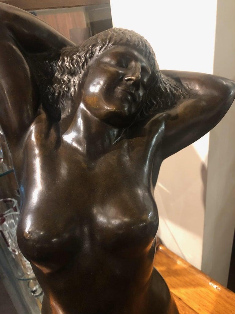 Belgian Art Deco Bronze Female Sculpture by Joseph Witterwulghe For Sale 1