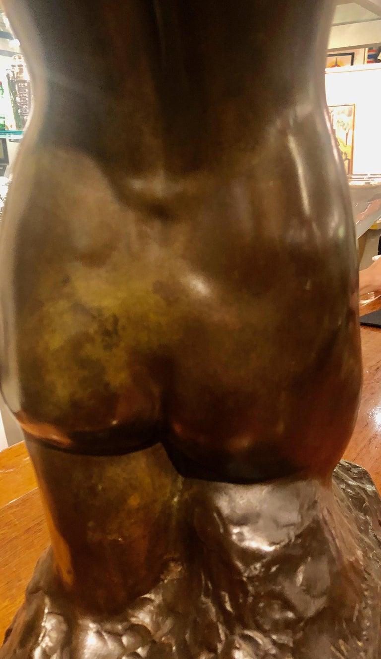 Belgian Art Deco Bronze Female Sculpture by Joseph Witterwulghe For Sale 4