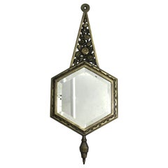 Belgian Art Deco Diminutive Mirror with Nickel Over Bronze Frame & Beveled Glass