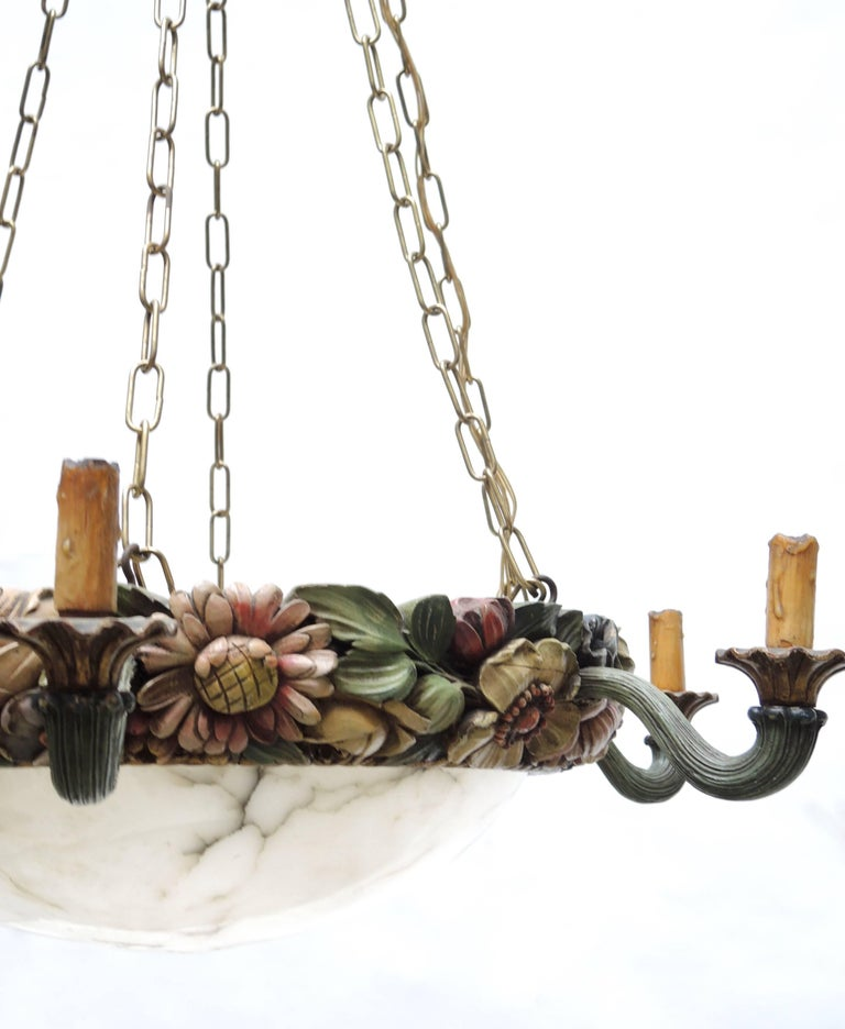 19th Century Belgian Art Nouveau Carved Wood and Alabaster Chandelier, circa 1880 For Sale