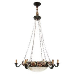 Belgian Art Nouveau Carved Wood and Alabaster Chandelier, circa 1880