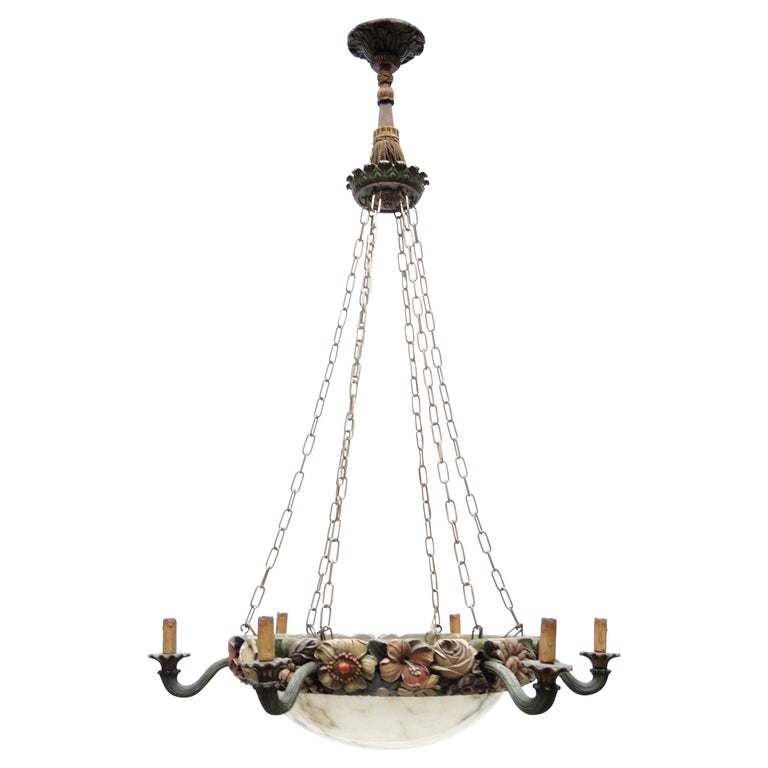 Belgian Art Nouveau Carved Wood and Alabaster Chandelier, circa 1880 For Sale