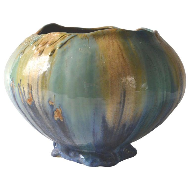 Belgian Art Nouveau Ceramic Vase, circa 1910 For Sale