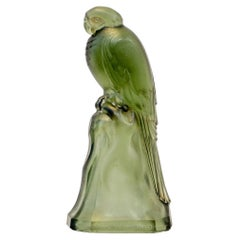 Belgian Art Nouveau Green Glass Parrot by Val Saint Lambert